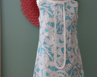 Vintage 1960's Turquoise and White Floral Mod Mini Shift Dress