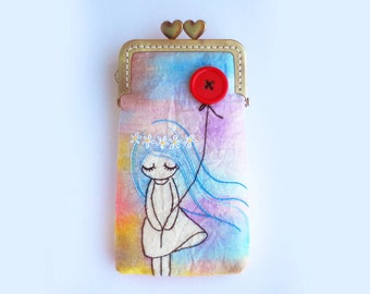 iPhone Case gadget case/Glasses Case - Vintage Embroidery Girl with red balloon (iPhone 7, iPhone 7 Plus, Samsung Galaxy S7 etc. )