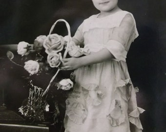 Little Girl w/ Curly Hair - Pretty Ruffled Dress and Flowers - Real Photo Postcard -1920's