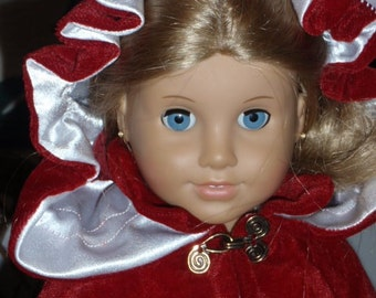 1700s Velvet Colonial Kinsale Cloak Cape for American Girl Felicity Elizabeth Cecile Marie Grace 18 inch doll