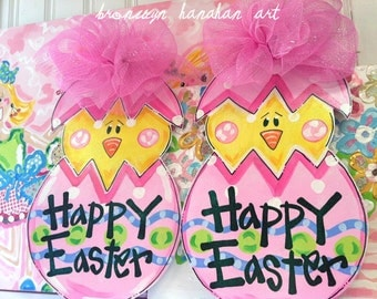 Easter Chick Door Hanger (Pink) - Bronwyn Hanahan Art