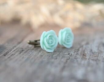 Mint Seafoam Green Rose Flower Cuff links // Groom Gift // Best Man Gift //  Groomsmen Gift  // Vintage Wedding
