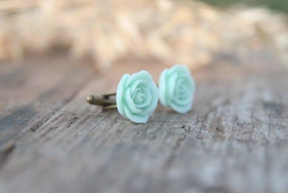 Mint Seafoam Green Rose Flower Cufflinks // Groom Gift // Best Man Gift //  Groomsmen Gift  // Vintage Wedding