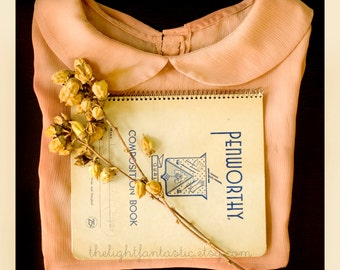 Fine Art Print inch Prim Peter Pan Collar Blouse Vintage Composition Book Mustard Yellow Pink Girly Feminine Home Decor Wholesale