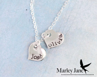 Sterling Silver Custom Heart Necklace- Little Pieces of You- initials or numbers date dates