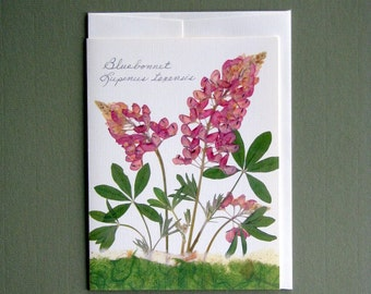 Pink Bluebonnet hybrid wildflower, Pressed flowers, pink and green, greeting card, no.1173