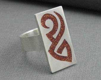 solid sterling silver copper glitter tribal ring. silver tribal band. brown tattoo ring. tattoo band ring. size 7 3/4. artisan handmade band