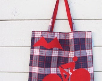 Uphill Mountain Cyclist Novelty Purse - Extra Large Purple Red Plaid Appliquéd Bicycle Shopping Tote / Diaper Bag - Bike Love OOAK Eco Gift