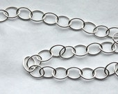 3 feet, Italian Sterling Silver Chain, 6mm x 8mm Oval Link Chain, M/FZRX070
