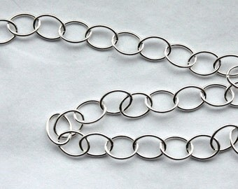 3 feet, Italian Sterling Silver Chain, 6mm x 8mm Oval Link Chain, M/FZRX070