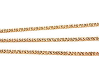 6 feet - Vintage Chain Solid Brass Smooth Curb Link - 4 x  3.5mm - Thick Thin Chain
