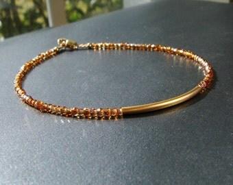 Gold Stacking Bracelets, Delicate, Minimalist, Swarovski Crystal Gold Skinny Bracelet, Tiny, Modern, Custom, Topaz, Made to Order
