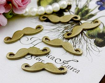 40% Last - 30Pcs Nickel Free - High Quality Antiqued Vintage Bronze Moustache Charms / Pendants (ZG132)--Clearance Sale
