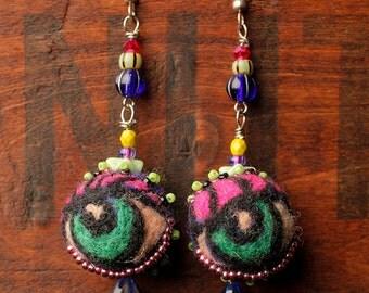 Felted and beaded eye dangle earrings
