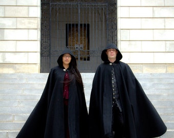 Wool Cloak - Half-Circle Cloak - Black Cloak  - Hooded Cloak - Cloak with Hood - Cloaks and Capes