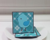 Little Blue Birdie Bird- Mini Cards Thank You Cards  ( Set of 4)