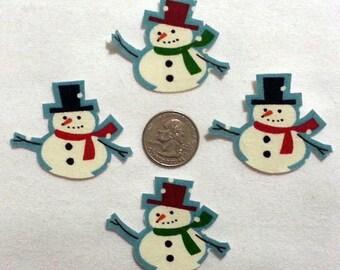SALE! 4 Snowmen No Sew Iron On Appliques Cotton Patches Retro