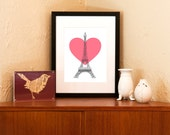 Eiffel Tower with Heart 8x10 Art Print (Free Shipping in US)
