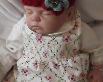 Burgundy Baby Handcrocheted Headband...Layered Flowers..Beautiful Color Combo..All seasons..0 up to 3 month size..Ready to Ship