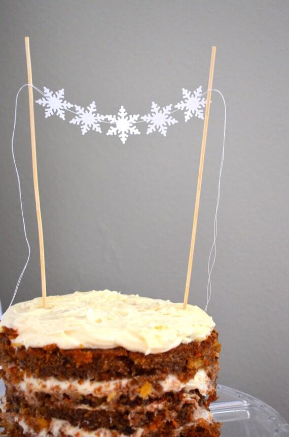 Mini Snowflake Garland Cake Topper, small bunting dessert topper