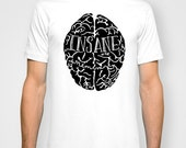 Insane in the Membrane white Mens T-shirt hand printed by Emilythepemily.
