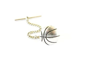 Basketball Tie Tack- Sterling Silver Ox Finish- Gifts For Men