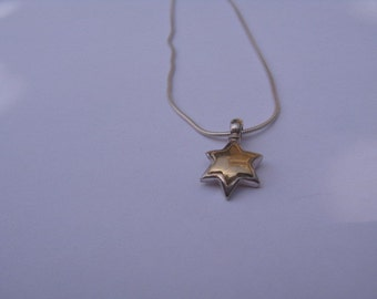 Gold Star of David Necklace, Simple Star of DAvid Necklace, Modern 9K Gold Jewish Star Pendant Necklace Judaica