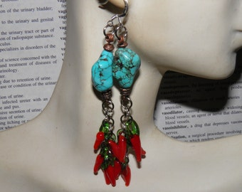Turquoise Earrings, Southwestern Earrings, Sterling Silver and Copper, Artisan Handmade Lampwork Glass Hot Peppers, Day of the Dead Jewelry