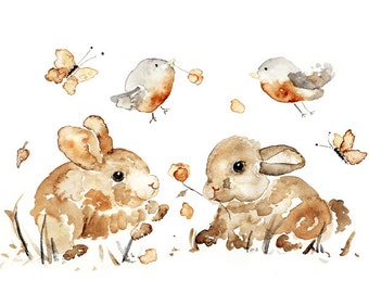 Baby Girl Nursery, Bunny Print, Easter Gift, Gender Neutral Nursery, Bunny Painting, Woodland Nursery, Bunnies, Birds, Woodland Decor