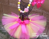 PINK LEMONADE- Pink and yellow shimmer, tutu with hairbow:  Newborn-5T