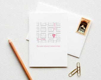 Letterpress Love Note City Street Map