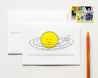 Happy Birthday Trip Around the Sun Letterpress Card