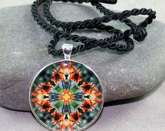 Butterfly Mandala Pendant Necklace Boho Chic Sacred Geometry New Age Hippie Kaleidoscope Unique Gift For Her Butterfly Lover Gaea's Rhapsody
