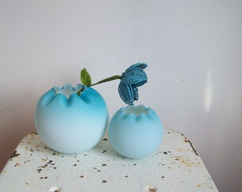 Pair antique Victorian rose bowls cased satin glass early 1900s Bleu de France to powder blue excellent condition