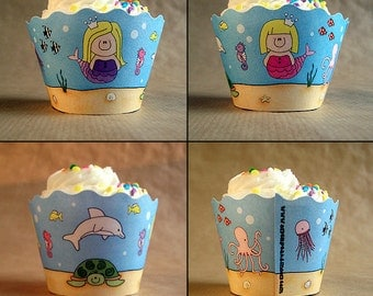 under the sea girl birthday party cupcake wrappers decorations mermaids turtle seahorses - set of 12