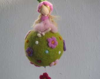 Waldorf inspired needle felted spring - fairy sitting on a ball