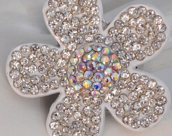 Sparkly Floral Rhinestone Ring /Statement Ring/Spring/Summer Jewelry/Gift For Her/Wedding Jewelry/Aurora Borealis/Under 15 USD/Adjustable