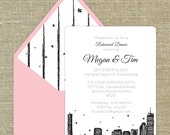 Boston Skyline set of 25 any occasion invitations with matching envelopes with return address printing