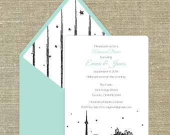 Toronto any occasion invitation with matching envelopes with return address printing