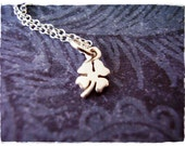 Tiny Clover Necklace - Sterling Silver Clover Charm on a Delicate Sterling Silver Cable Chain or Charm Only