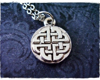 Silver Round Celtic Knot Necklace - Silver Pewter Celtic Knot Charm on a Delicate Silver Plated Cable Chain or Charm Only