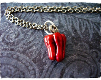 Red Pepper Necklace - Red Enameled Antique Pewter Bell Pepper Charm on a Delicate Silver Plated Cable Chain or Charm Only