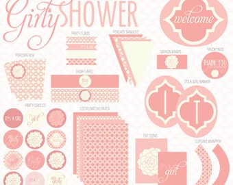 Vintage Pink Baby Shower PRINTABLE Party (INSTANT DOWNLOAD) by Love The Day