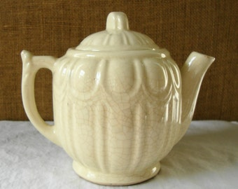 EARLY CENTURY Art Deco Teapot Antique Ivory White Dreamy Tea Pot High Tea Time Pottery Ceramic Tea Pot