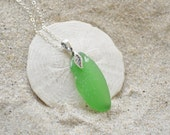 Green Seaglass Necklace with Leaf Bail - Sterling Silver Seaglass Jewelry