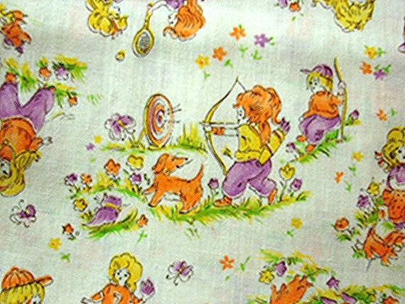 1970s fabricchildrens juvenile fabric kids playing games for Vintage childrens fabric by the yard