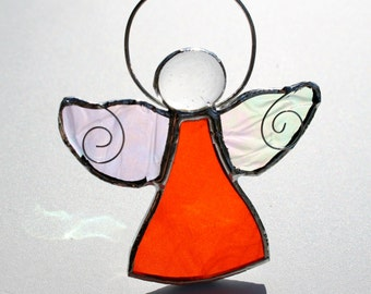 Stained Glass Angel Suncatcher Orange Bridesmaid Gift Teachers Gift Holy Communion