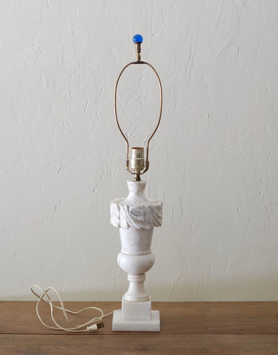 Vintage Alabaster Lamp Carved White Marble Large Heavy