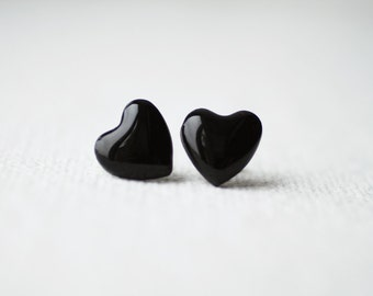 Black Glitter Heart Stud Earrings, post earrings