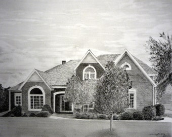 """Custom Drawing From Picture - 5"""" x 7""""  House Home Pencil Sketch Landscape Portrait From Your Photo"""